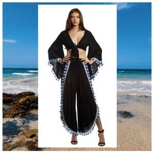 Boho Hippie Tassel Trim Beach Pants